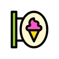 Vettore del segno del negozio di gelato, profilo editabile dell'icona riempita