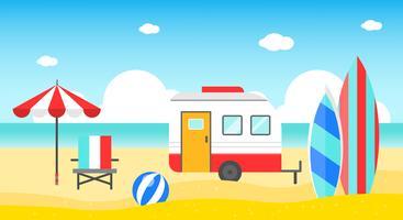 Vacanze estive, illustrazione vettoriale di estate spiaggia poster