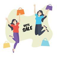 Shopping Girl felice e salto, vendita di sconto vettore