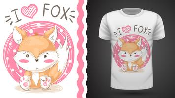 Cute fox - idea per t-shirt stampata. vettore