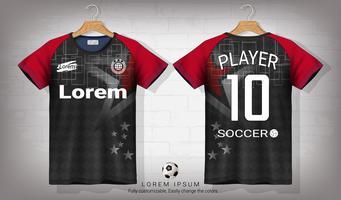 Modello di mockup di sport di jersey da calcio e t-shirt, grafica per kit da calcio o uniformi per abbigliamento sportivo.