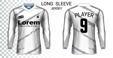 Modello di mockup di t-shirt a maniche lunghe da calcio, grafica per divise da calcio.
