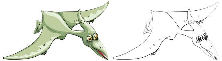 Doodle animale per dinosauro di uccello vettore