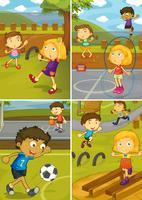 Una serie di attività bambini al parco giochi