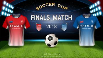 Templat della tazza di calcio di campionato del mondo, concetto di match-winning finale.