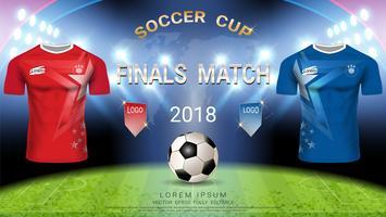 Templat della tazza di calcio di campionato del mondo, concetto di match-winning finale. vettore