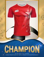 Modello di manifesto di sport con la squadra di calcio Jersey design oro e sfondo rosso di tendenza.