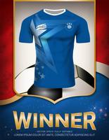 Modello di manifesto di sport con la squadra di calcio Jersey design oro e sfondo blu di tendenza.