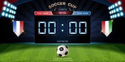 Tabellone segnapunti digitale, partita di calcio con la bandiera, modello grafico di trasmissione di strategia.