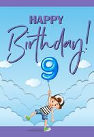 Modello di carta di compleanno per nove anni vettore