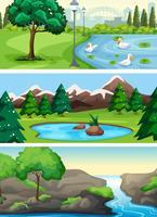 Set di parco naturale rurale vettore