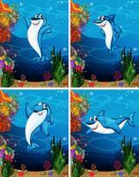 Squalo che nuota sotto il mare vettore