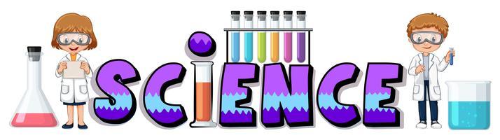 Progetto di parole per la scienza con i becher vettore