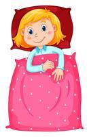 Ragazza carina sotto coperta polkadots