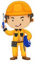 Elettricista che tiene cacciavite e filo