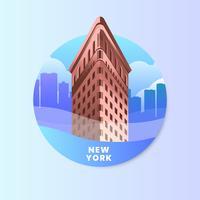 Ferro da stiro che costruisce New York con l'illustrazione di vettore di paesaggio urbano