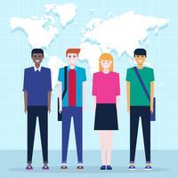 Gruppo internazionale degli studenti con l'illustrazione del fondo della mappa di mondo vettore