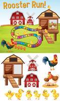 Modello di gioco da tavolo con i polli sul cortile