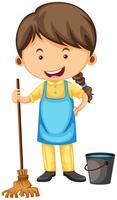 Pulitore femminile con scopa e secchio