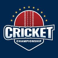 Concetto creativo di progettazione dell'etichetta dell'autoadesivo della lega del cricket vettore