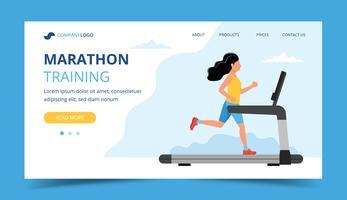 Esecuzione del modello di pagina di destinazione. Donna che corre sul tapis roulant. Illustrazione per maratona, corsa cittadina, allenamento, cardio.