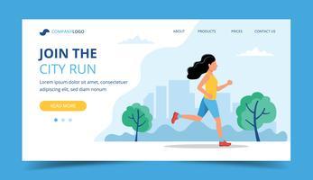 Esecuzione del modello di pagina di destinazione. Donna che corre nel parco. Illustrazione per maratona, corsa cittadina, allenamento, cardio.