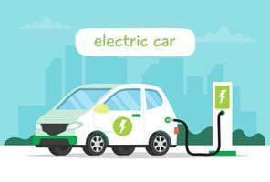 Ricarica di auto elettriche con sfondo di città e lettering. Illustrazione di concetto per ambiente, ecologia