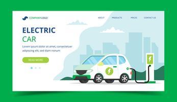Pagina di atterraggio di carico dell'automobile elettrica - illustrazione di concetto per ambiente, ecologia, sostenibilità, aria pulita, futuro.