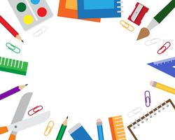 Illustrazione vettoriale del telaio con elementi di cancelleria su sfondo bianco.