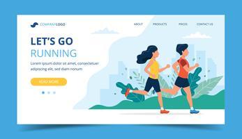 Esecuzione del modello di pagina di destinazione. Uomo e donna che corrono nel parco. Illustrazione per maratona, corsa cittadina, allenamento, cardio vettore