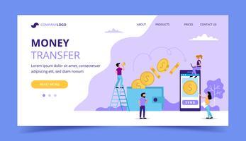 Pagina di destinazione del trasferimento di denaro, illustrazione di concetto per l'invio di denaro dal portafoglio allo smartphone.