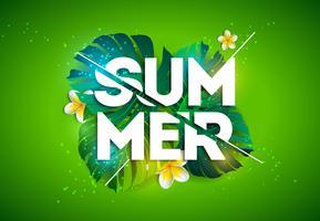 Vector l'illustrazione di vacanza estiva con la lettera di tipografia e le foglie di palma tropicali su fondo verde. Piante esotiche e Flowe