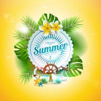 Vector l'illustrazione di vacanza estiva con la lettera di tipografia e le foglie tropicali sul fondo dell'oceano blu. Piante esotiche, fiori, occhiali da sole e volante della nave
