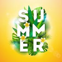 Vector l'illustrazione di vacanza estiva con la lettera di tipografia e le foglie di palma tropicali su fondo giallo. Piante esotiche e fiori