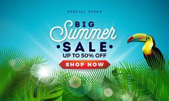 Estate vendita Design con foglie di palma esotiche e Touvan Bird su sfondo blu. Illustrazione di offerta speciale di vettore tropicale