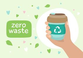 Tazza di caffè riutilizzabile - illustrazione con lettering. Stile di vita sostenibile, zero sprechi, concetto ecologico.