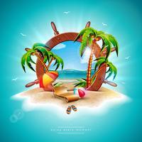 Vector l'illustrazione di vacanza estiva con il volante della nave e le foglie di palma esotiche sul fondo tropicale dell'isola. Piante esotiche, fiori, palloni da spiaggia, tavola da surf e ombrellone