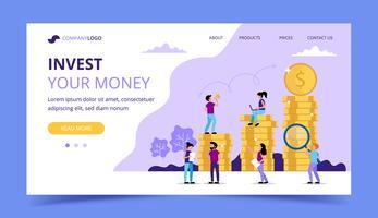 Pagina di destinazione di investimento - illustrazione con le monete, caratteri della piccola gente. Illustrazione vettoriale