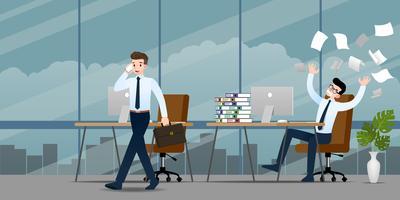 Uomo d'affari in diverse emozioni. Due uomini d'affari hanno una situazione di lavoro contrastata che si può concludere e tornare a casa, ma l'altro è molto confuso e occupato. Disegno vettoriale illustrazione.