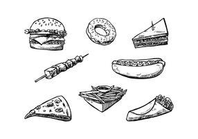 Vettore disegnato a mano dell'illustrazione degli alimenti a rapida preparazione