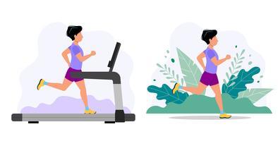 Uomo che corre sul tapis roulant e nel parco. Illustrazione di concetto per fare jogging, stile di vita sano, esercizio. vettore