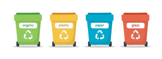 Illustrazione di separazione dei rifiuti con i bidoni della spazzatura variopinti differenti isolati, illustrazione per il riciclaggio, sostenibilità