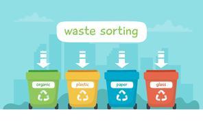 Illustrazione di smistamento dei rifiuti con diversi bidoni della spazzatura colorati con scritte, riciclaggio, sostenibilità. vettore