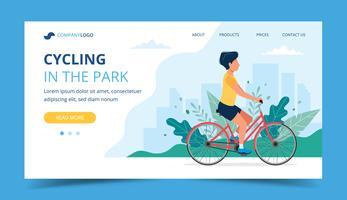 Pagina di destinazione in bicicletta. Bicicletta di equitazione uomo nel parco. Illustrazione per stile di vita attivo, allenamento, esercizi cardio.