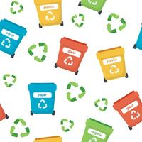 Modello di smistamento dei rifiuti con diversi bidoni della spazzatura colorati, illustrazione di concetto per il riciclaggio, ecologia, sostenibilità