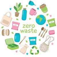 Illustrazione di concetto di spreco zero con diversi elementi e scritte. Stile di vita sostenibile, concetto ecologico. vettore