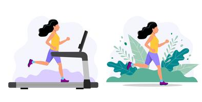 Donna che corre sul tapis roulant e nel parco. Illustrazione di concetto per fare jogging, stile di vita sano, esercizio. vettore