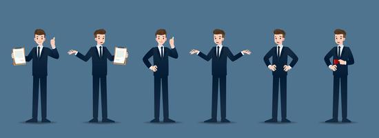 Set di uomo d'affari in 6 diversi gesti. Le persone nel mondo degli affari si atteggiano ad aspettare, comunicare e avere successo. Illustrazione vettoriale.