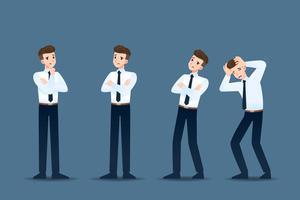 Set di uomo d'affari in 4 diversi gesti. Le persone nel mondo degli affari si atteggiano a pensare, a preoccuparsi. Illustrazione vettoriale.