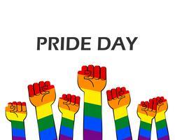L'illustrazione di vettore del giorno di orgoglio con le mani a strisce dell'arcobaleno mostra il pugno sollevato su su fondo bianco